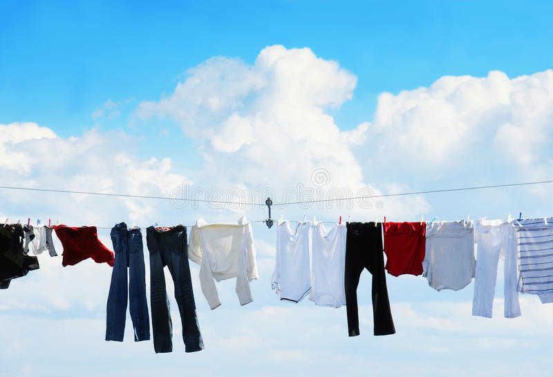 Download Clothesline and blue sky stock image. Image of clothesline - 16863377