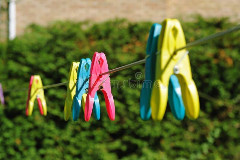 Clothespegs de couleur sur le washline photo stock