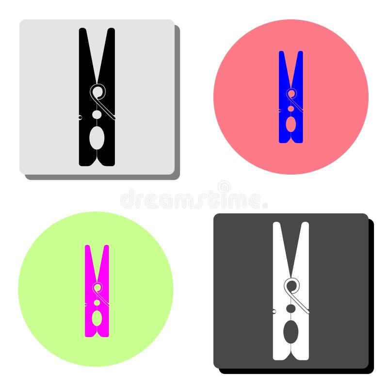clothespin Ícone liso do vetor ilustração do vetor