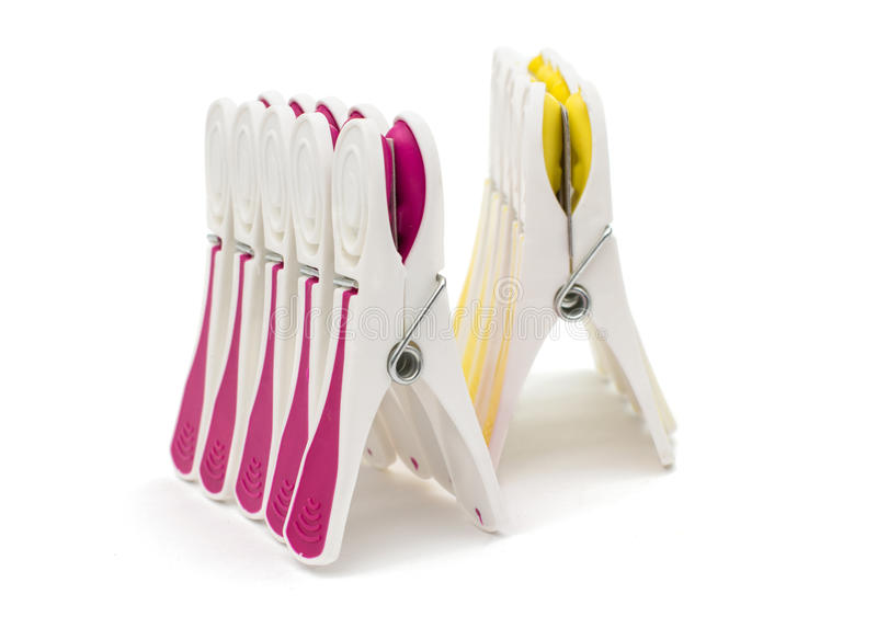 Clothespin clips isolated stock photo