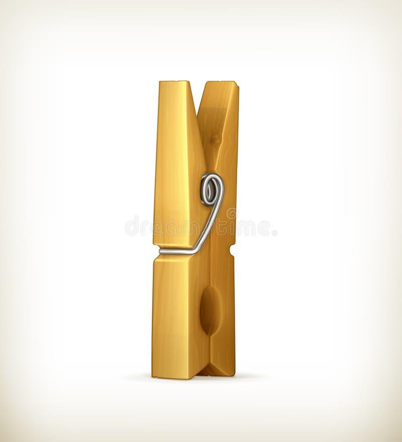 Clothespin de madeira ilustração stock
