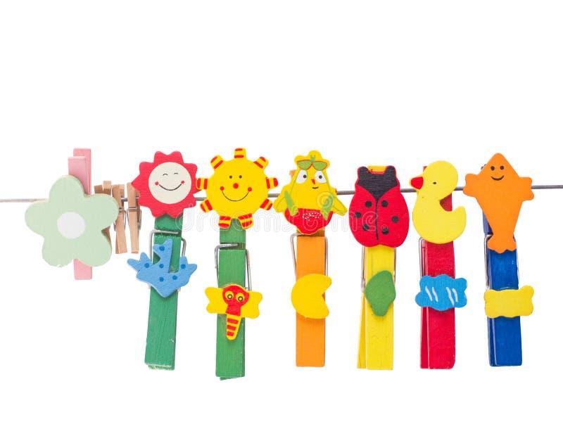 Clothespin kolorowy piękny uśmiech zdjęcia royalty free