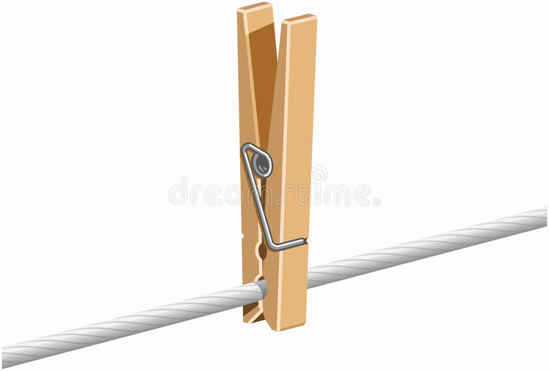 Clothespin na linha ilustração do vetor