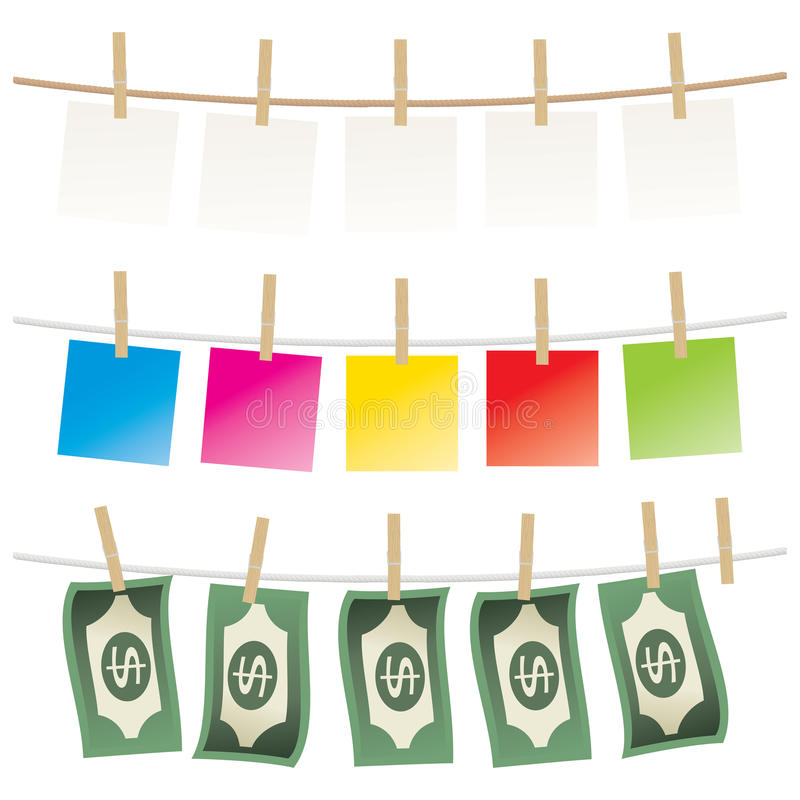 Clothespin And Paper Stock Photos