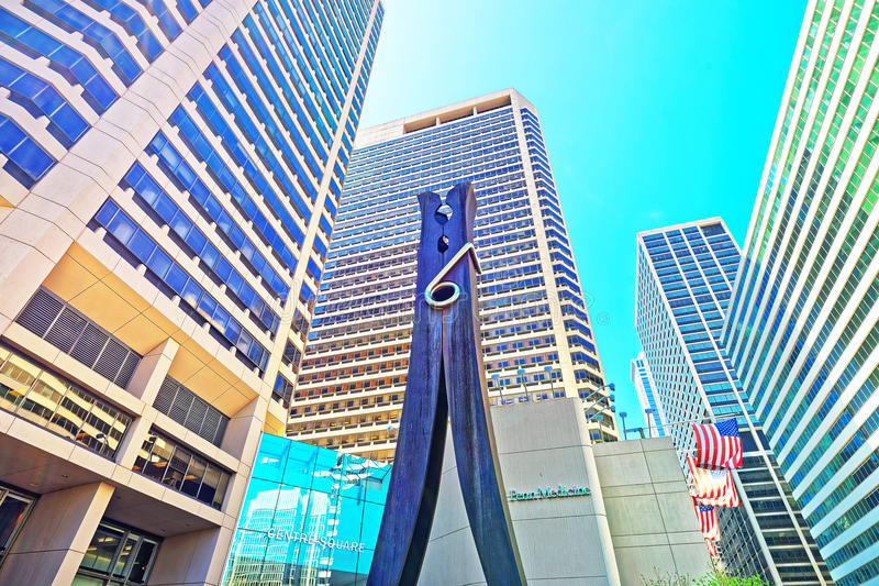Clothespin sculpture at Skyscrapers in Philadelphia City Center royalty free stock images
