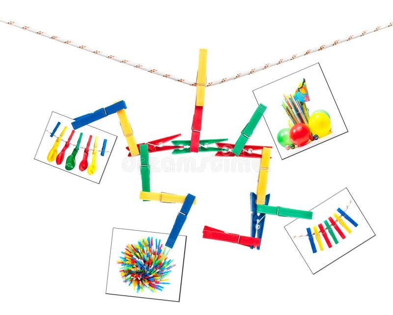 clothespins ζωηρόχρωμη συμβολοσε στοκ φωτογραφία με δικαίωμα ελεύθερης χρήσης