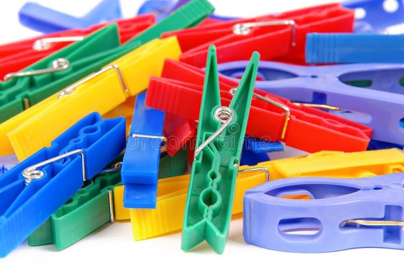 clothespins пестротканые стоковые изображения