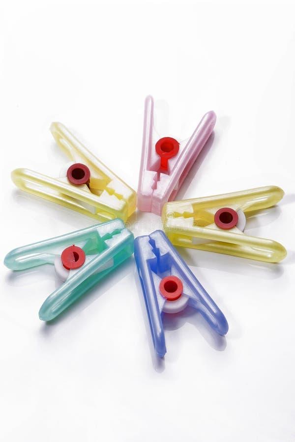 clothespins пластичные стоковое изображение
