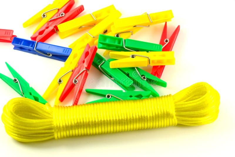 Clothespins e clothesline fotografia stock libera da diritti