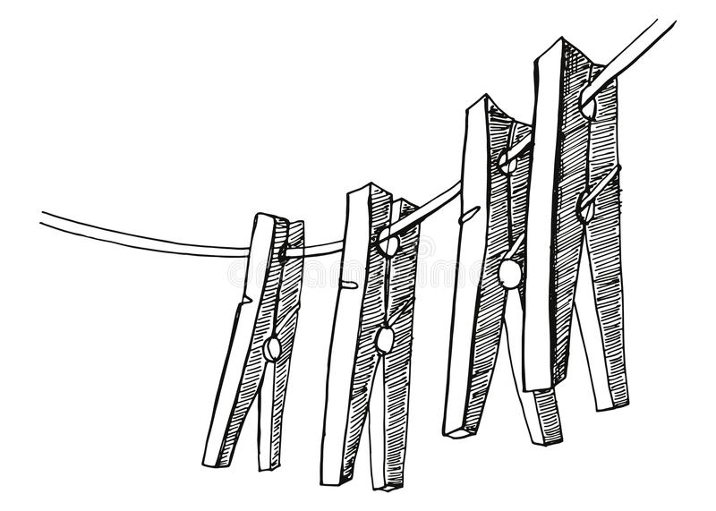 Clothespins hang on the rope. vector illustration hand drawing. Isolated stock illustration