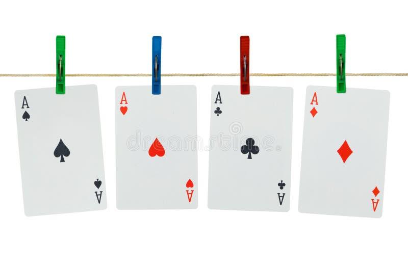 clothespins karty grać zdjęcia royalty free