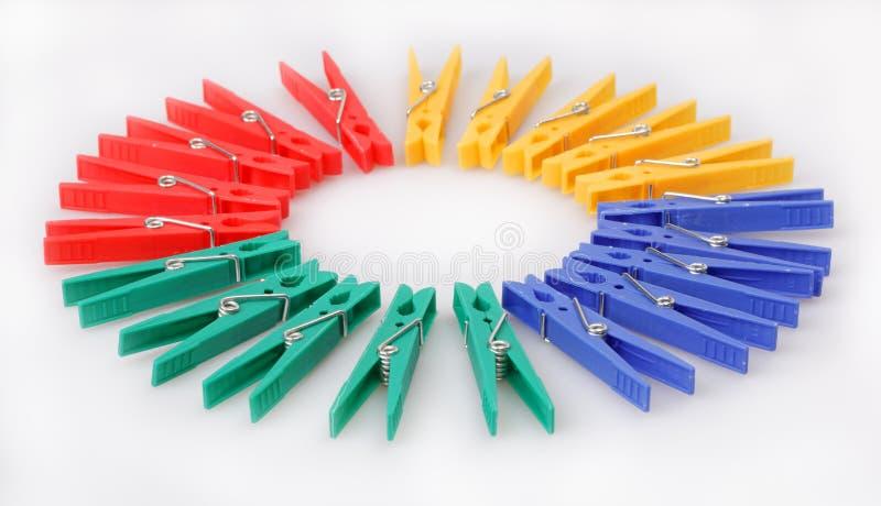 Clothespins Multi-coloured fotografie stock