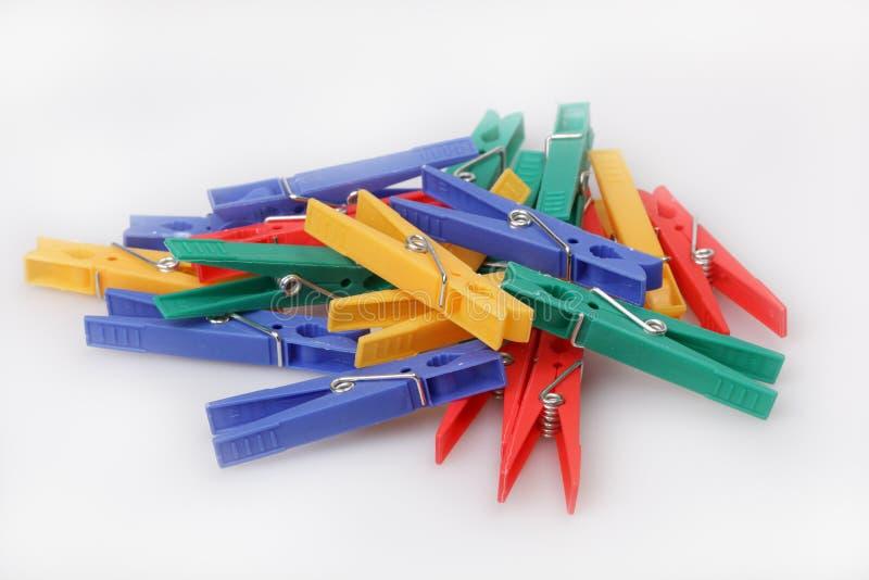 Clothespins Multi-coloured immagini stock