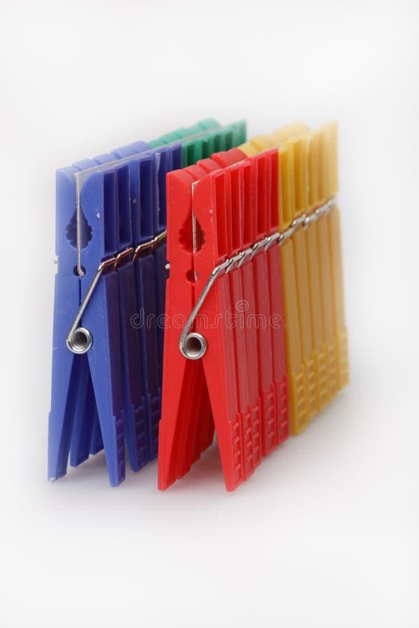 Clothespins Multi-coloured fotografia stock