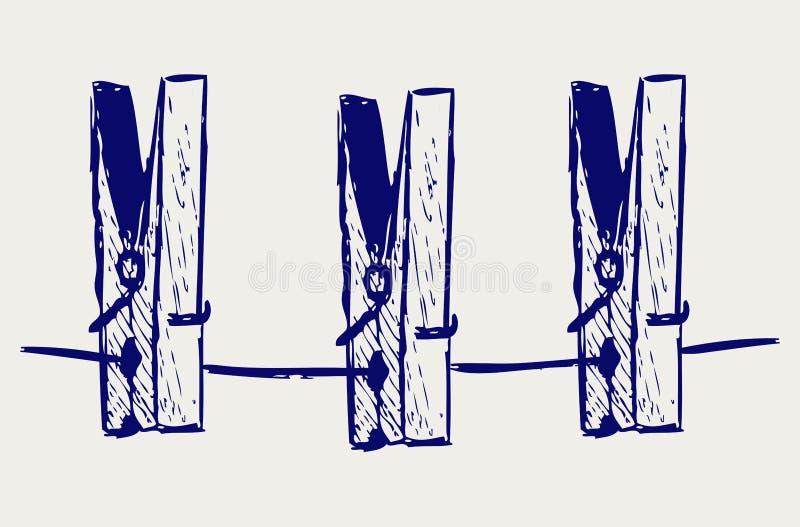 Clothespins na arkanie ilustracja wektor
