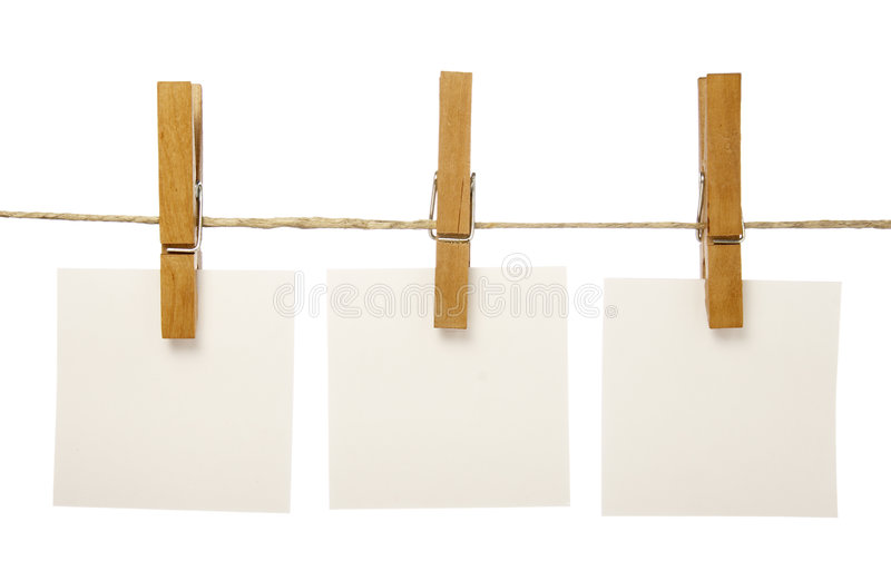 clothespins notepads obrazy stock