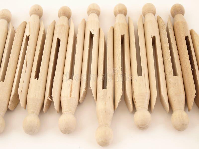 Clothespins pasados de moda foto de archivo
