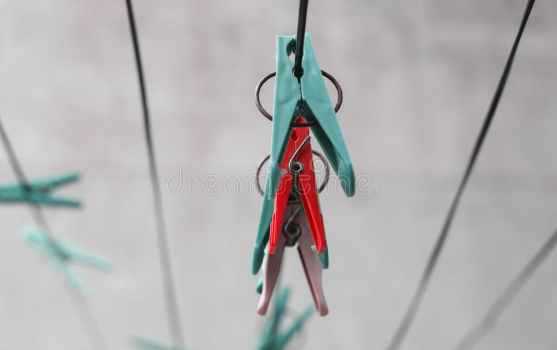 Clothespins on a rope royalty free stock photos