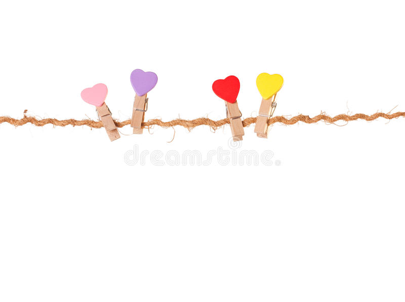 Download Clothespins With Valentines  On Rope Stock Image - Image: 36998587