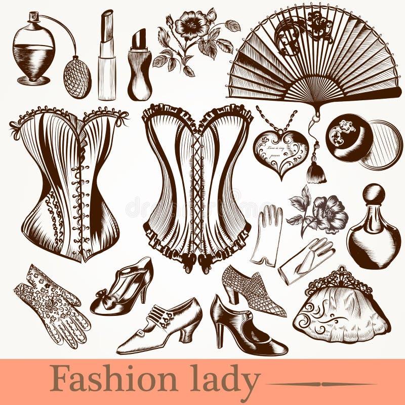 Clothiers för tillbehör för uppsättning för vektormodedam stock illustrationer