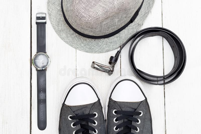 Clothing and accessories for mens . Flat lay royalty free stock photos