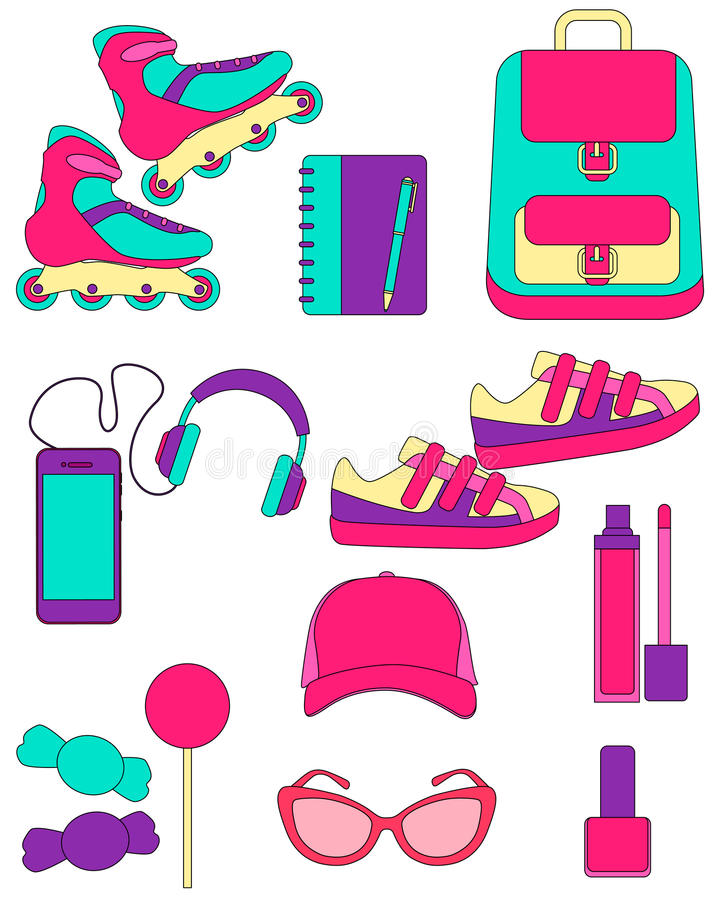 download clothing and accessories for teenage girls stock vector illustration of background notebook - Accessories For Teenage Girls