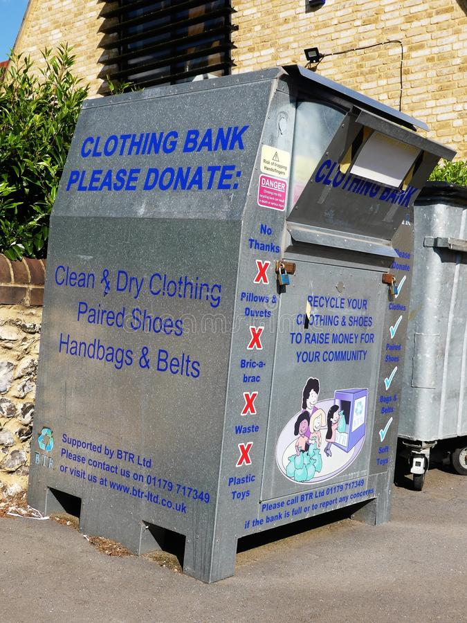 Clothing bank for donations of clothing, shoes, handbags and belts royalty free stock photography
