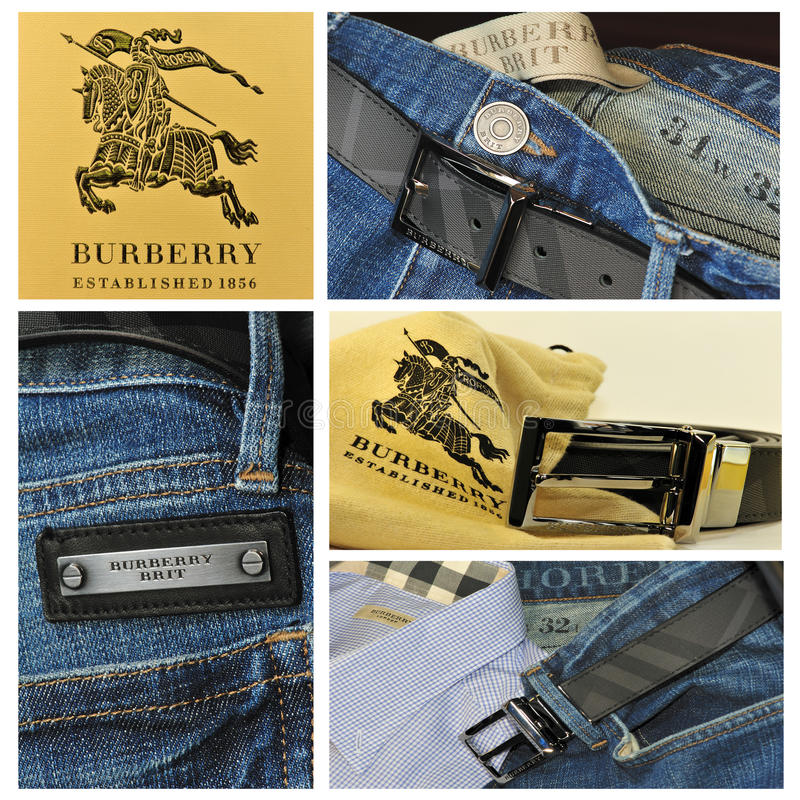 Clothing burberry collage stock photo