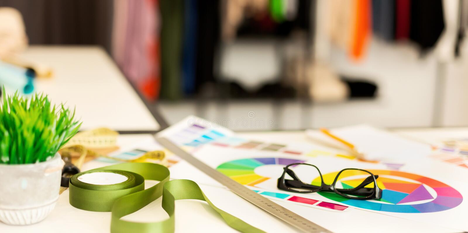 Clothing Designer`s Workplace Background With Sewing Tools stock image