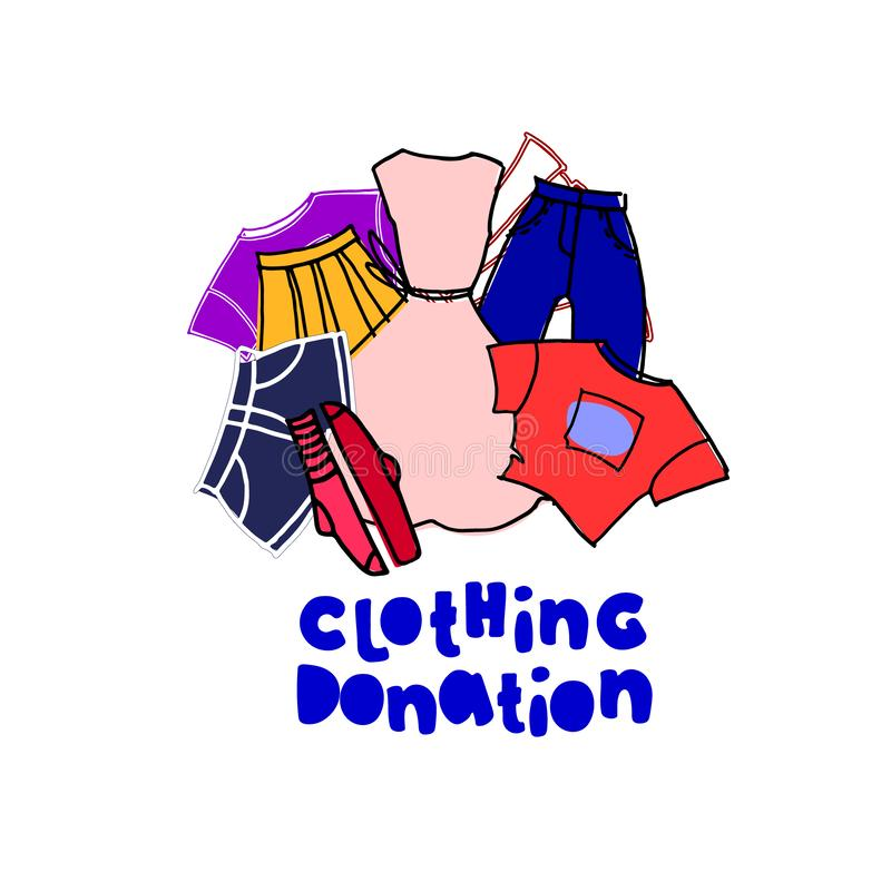 Clothing donation. Illustration to the concept and ad template. Hand drawn clothes and hand lettering, cartoon style royalty free illustration