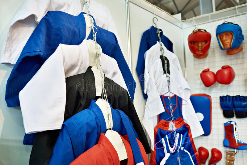 Clothing and equipment for martial arts in shop. Clothing and equipment for martial arts in a sports shop royalty free stock image