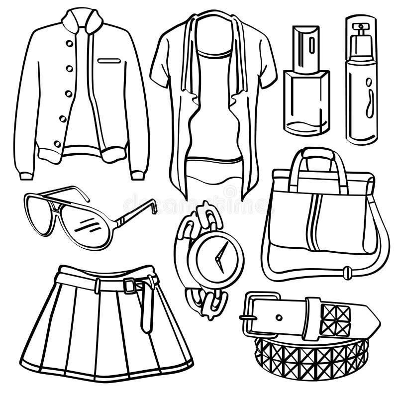 clothing för tillbehör royaltyfri illustrationer