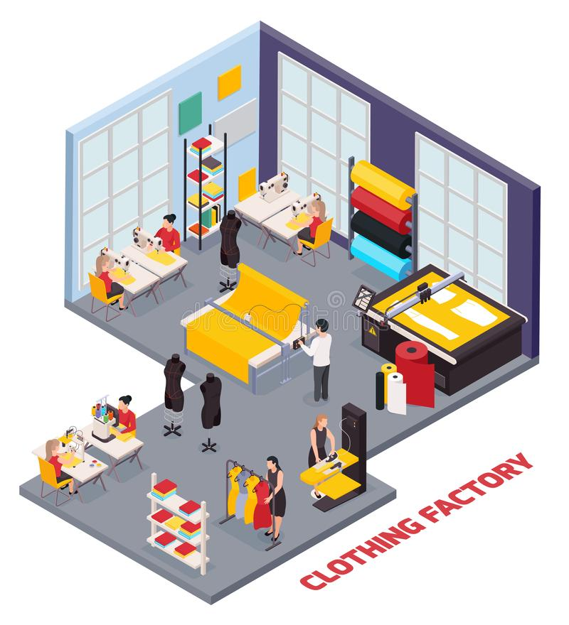 Clothing Factory Isometric Composition royalty free illustration
