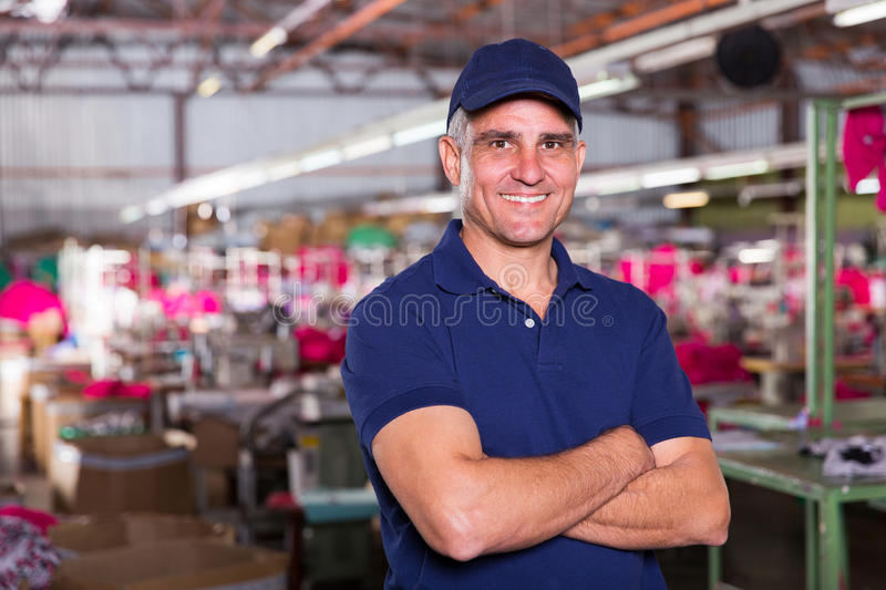 Clothing factory owner stock image