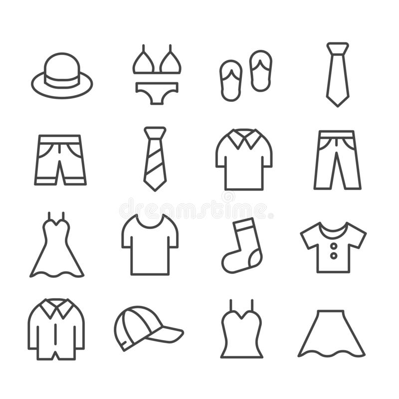 Clothing and fashion icon. Mens or womens apparel   isolated. Modern outline in trendy style on white background royalty free illustration