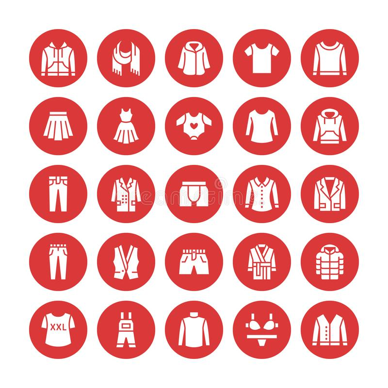 Clothing, fasion flat glyph icons. Mens, womens apparel - dress, down jacket, jeans, underwear, sweatshirt, t-shirt. Silhouette signs for clothes and stock illustration