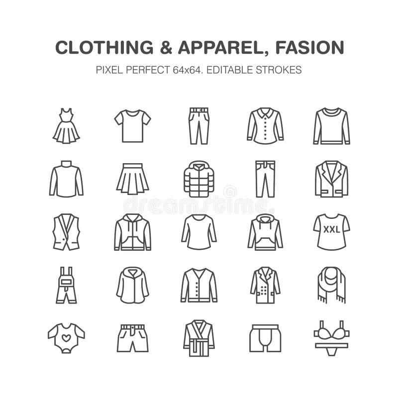 Clothing, fasion flat line icons. Men, women apparel - dress, down jacket, jeans, underwear, sweatshirt. Thin linear royalty free illustration