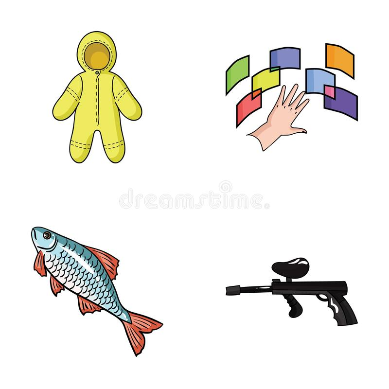 Clothing, fishing and other web icon in cartoon style.technology, paintball icons in set collection. Clothing, fishing and other icon in cartoon style royalty free illustration