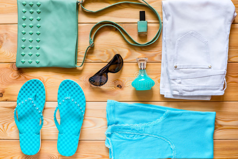 Clothing and footwear turquoise color royalty free stock photo