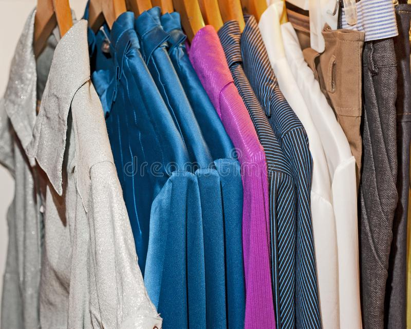 Download Clothing hanging on a rail stock photo. Image of pattern - 14835808
