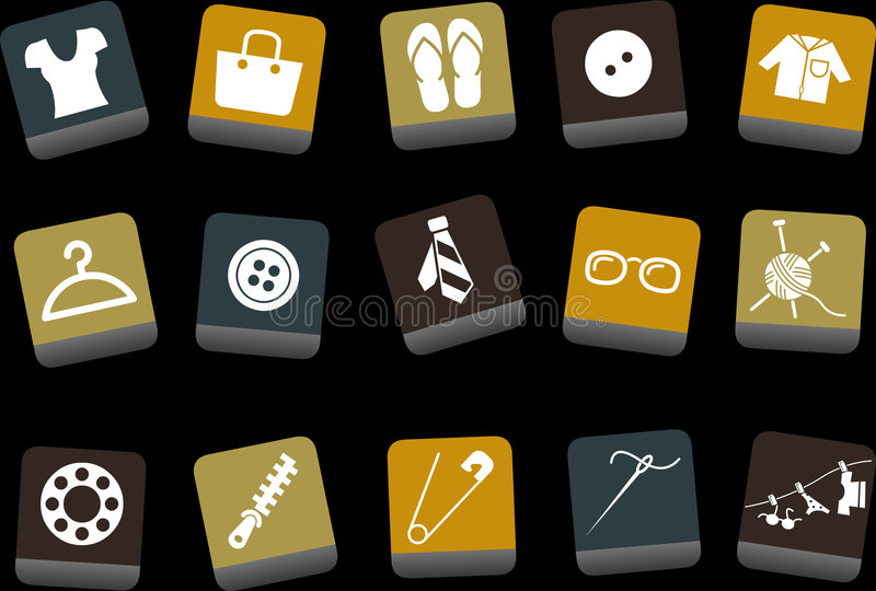 Download Clothing Icon Set stock vector. Image of buttons, cashmere - 9234414