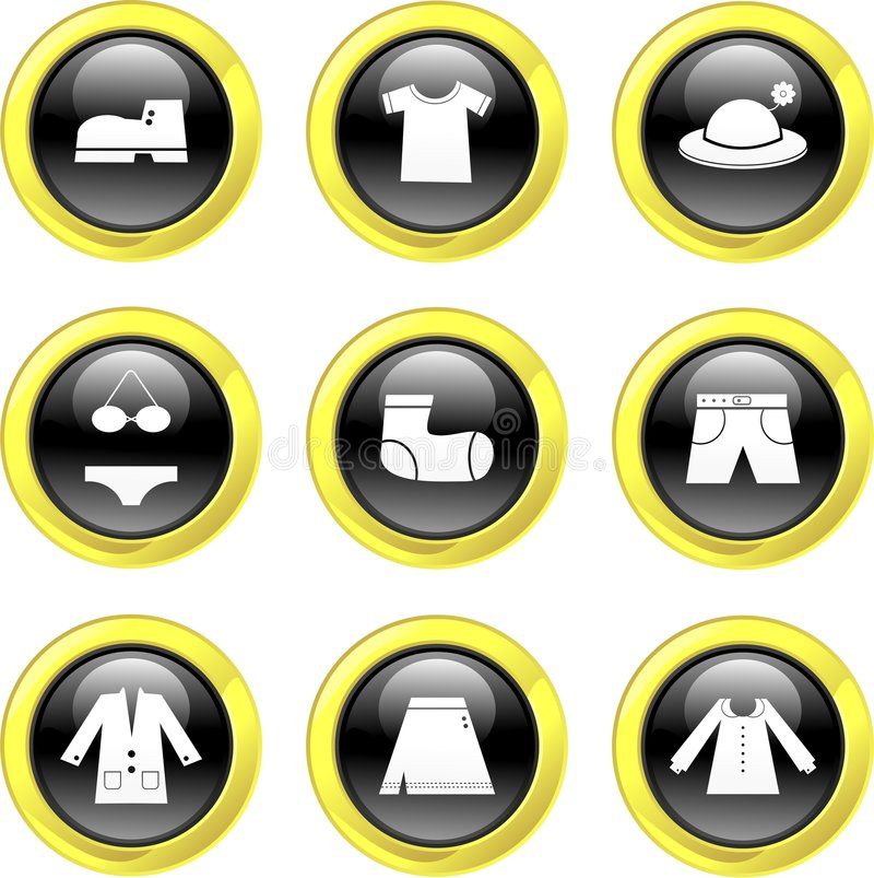 Download Clothing icons stock vector. Image of glossy, boots, decoration - 3398244