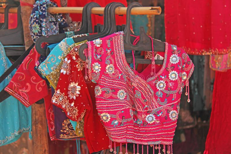 Clothing India for Women. Topics under the sari. Bazaar market in India.  stock images