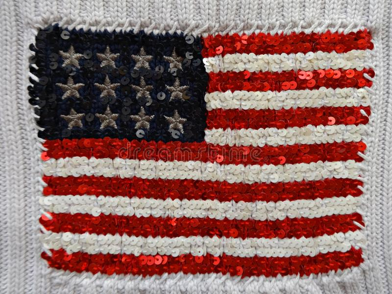 American flag embroidered with sequins stock image