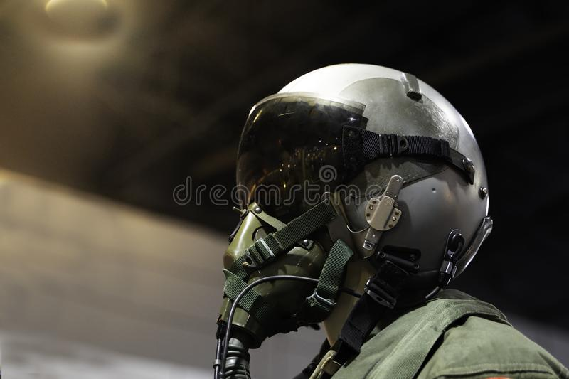 clothing for pilots or Fighter pilot suit on black background royalty free stock photo