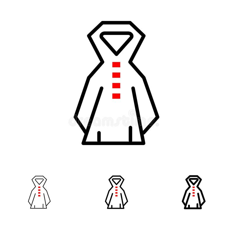 Clothing, Rain, Rainy Bold and thin black line icon set stock illustration