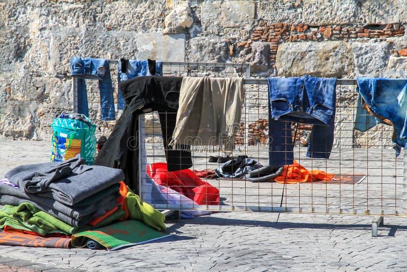 Clothing refugees stock photos