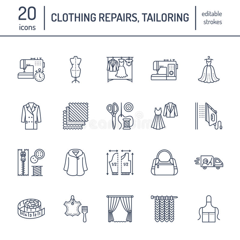 Clothing repair, alterations flat line icons set. Tailor store services - dressmaking, clothes steaming, curtains sewing. Linear signs set, logos for atelier vector illustration