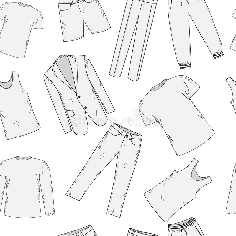 Clothing set seamless pattern sketch. Men's clothes, hand-drawing style. Men's Clothing, background. Men's clothes vector illustration