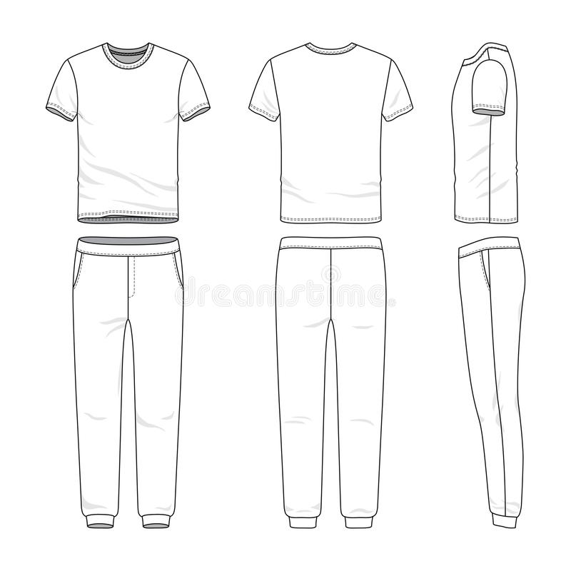 Clothing set of t-shirt and sweatpants. vector illustration